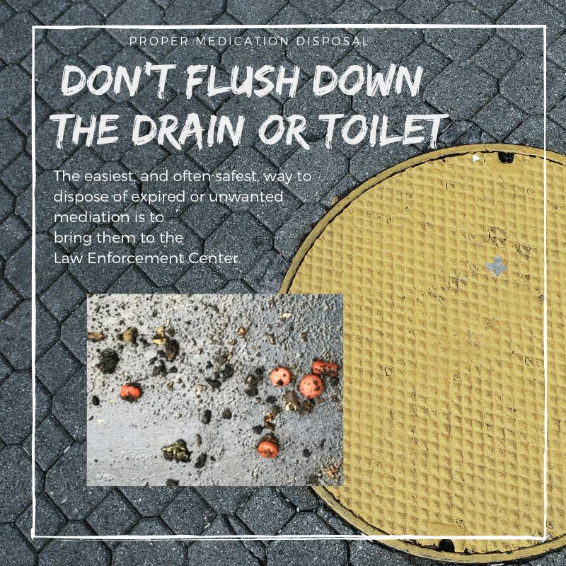 "Image of a sewer cap saying, ""Don't flush down the drain or toilet"" with instructions to br"