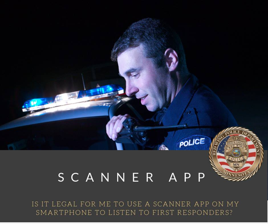"Image of a policeman speaking into a radio with the words, ""Scanner App"" beneath and the Red W"